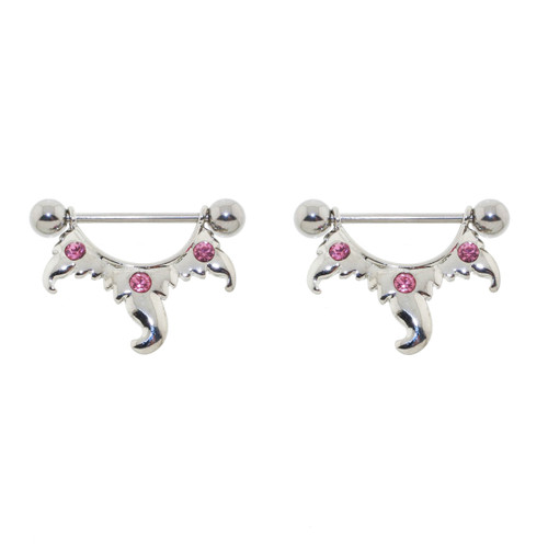 Lex & Lu Pair of Steel Barbell w/Nipple Shields Rings Pink CZ Gems, 14 Gauge-Lex & Lu