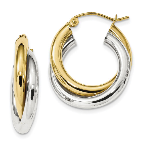 10k Two-tone Gold Polished Double Tube Hoop Earrings 10ER284-Lex and Lu