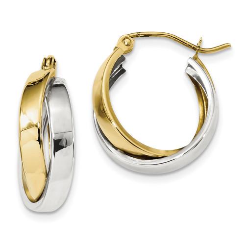 Lex & Lu 10k Two-tone Gold Polished Double Hoop Earrings LAL101727-Lex & Lu