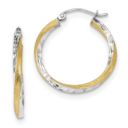 10k Yellow Gold and Rhodium Rhodium D/C 2.5mm Twisted Hoop Earrings 10TC387-Lex and Lu