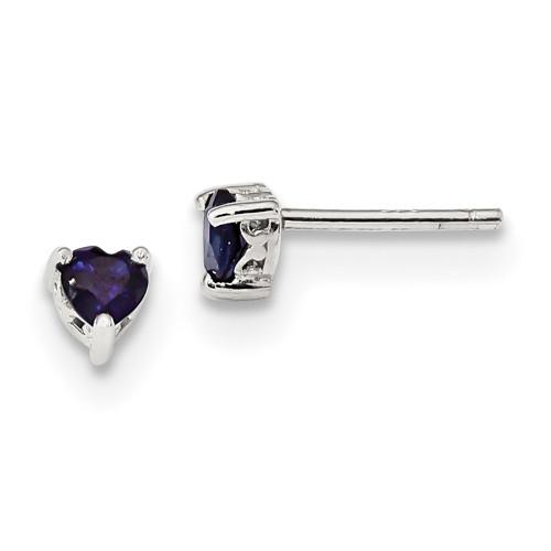 Lex & Lu Sterling Silver 4mm Heart Created Sapphire Post Earrings-Lex & Lu