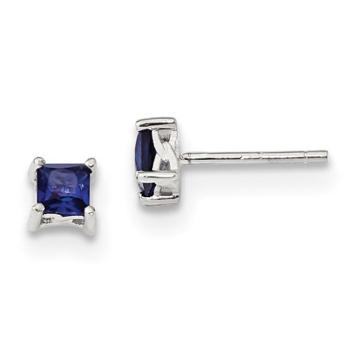 Lex & Lu Sterling Silver 4mm Princess Created Sapphire Post Earrings-Lex & Lu