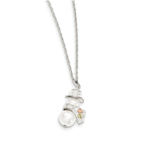 """Lex & Lu Sterling Silver & 12k Snowman Simulated Pearl Necklace 18""""-Lex and Lu"""