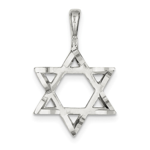 Sterling Silver Star of David Charm QC544-Lex and Lu