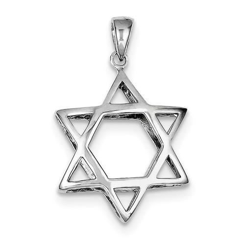 Lex & Lu Sterling Silver Puffed Star of David Pendant-Lex & Lu