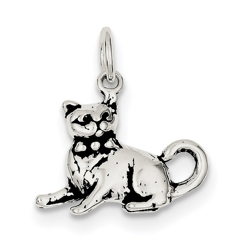 Lex & Lu Sterling Silver Antiqued Cat Charm LAL106546-Lex & Lu