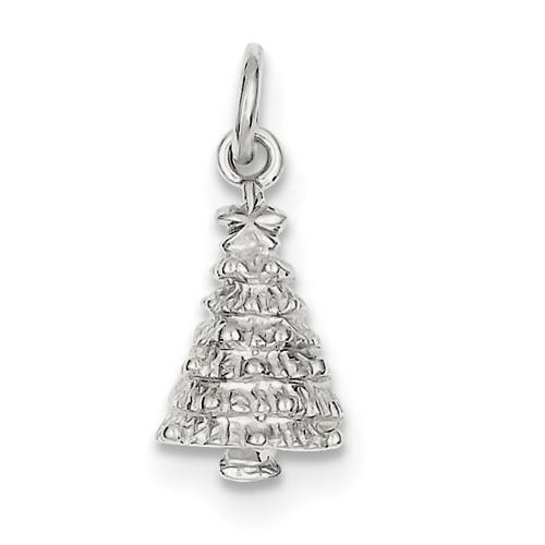 Lex & Lu Sterling Silver Christmas Tree Charm LAL106828-Lex & Lu