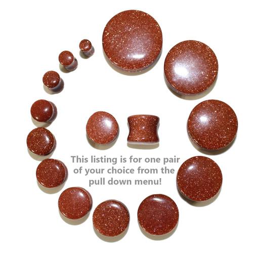 "Lex & Lu Pair of Double Flare Genuine Gold Stone Organic Ear Plugs 10G-1"" Gauge-Lex & Lu"