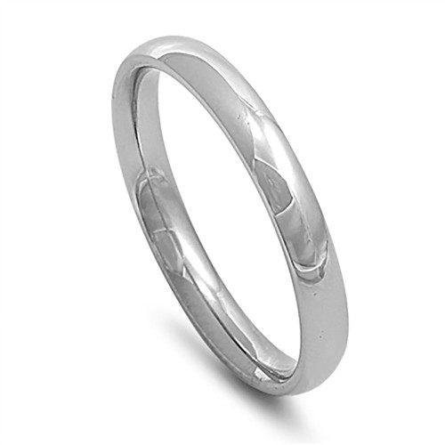 Lex & Lu 3mm High Polish Stainless Steel Comfort Fit Wedding Band Ring Size 3-12-Lex & Lu
