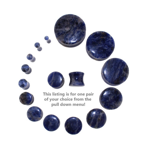 "Lex and Lu Pair of Genuine Sodalite Double Flare Stone Organic Ear Plugs 10G-1"" Gauge-4"