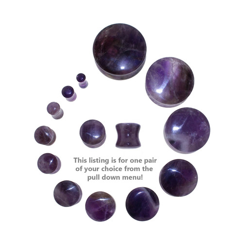 "Lex and Lu Pair of Double Flare Genuine Amethyst Stone Organic Ear Plugs 10G-1"" Gauge-4"