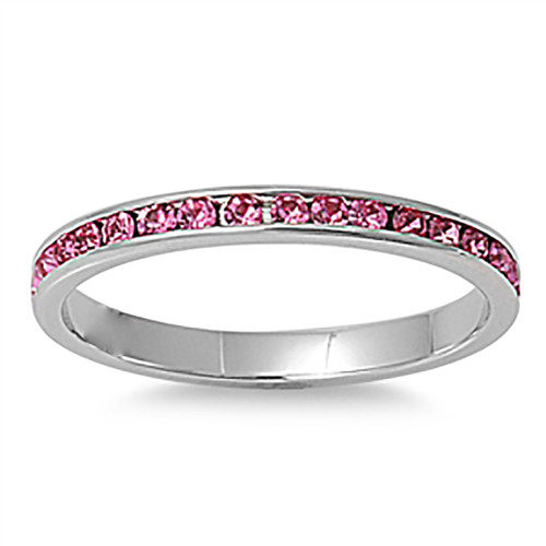Lex and Lu 3mm Stainless Steel Pink CZ Eternity Comfort Fit Band Ring Size 3-9