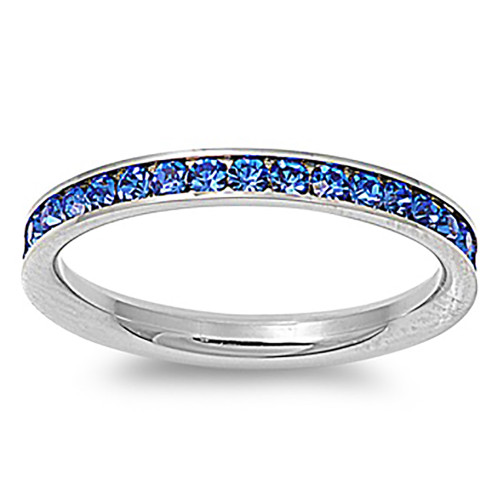 Lex & Lu 3mm Stainless Steel Blue CZ Eternity Comfort Fit Band Ring Size 3-9-Lex & Lu