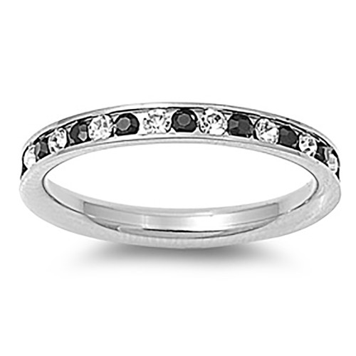 Lex and Lu 3mm Stainless Steel Clear/Black CZ Eternity Comfort Fit Band Ring Size 3-9