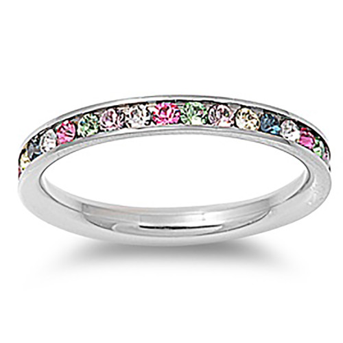Lex and Lu 3mm Stainless Steel Multi Color CZ Eternity Comfort Fit Band Ring Size 3-9