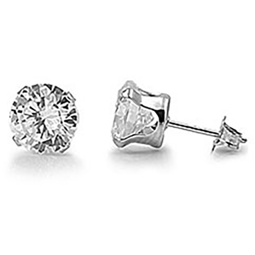 Lex & Lu Pair of Stainless Steel Round Clear CZ Stud Earrings 3,5,7 & 9 mm-Lex & Lu