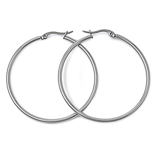 Lex & Lu Pair of Stainless Steel 2mm Hoop Earrings 25, 30, 40, 50, 60 & 70mm-Lex & Lu