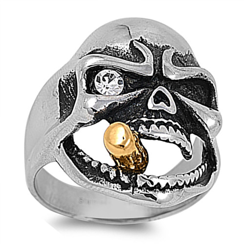 Lex and Lu Men's Fashion Stainless Steel Skull Biker Ring w/Sm Gem Eye and Cigar