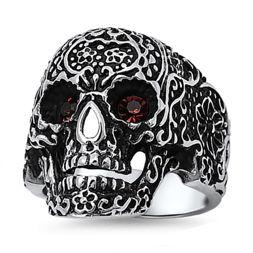 Lex and Lu Men's Fashion Stainless Steel Skull Biker Ring w/Red Gem Eyes