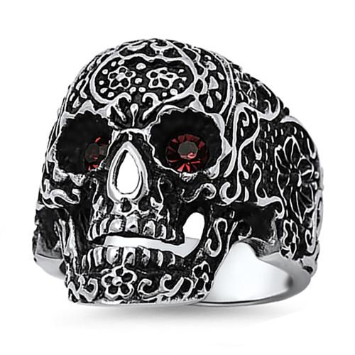 Lex & Lu Men's Fashion Stainless Steel Skull Biker Ring w/Red Gem Eyes-Lex & Lu