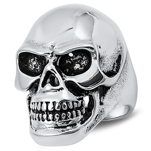 Lex and Lu Men's Fashion Stainless Steel Skull Biker Ring w/Black Eyes