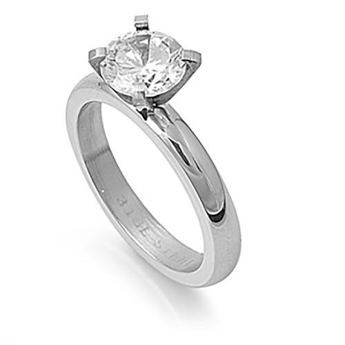 Lex & Lu Ladies Fashion Stainless Steel Ring w/Clear Gem And 3mm Band-Lex & Lu