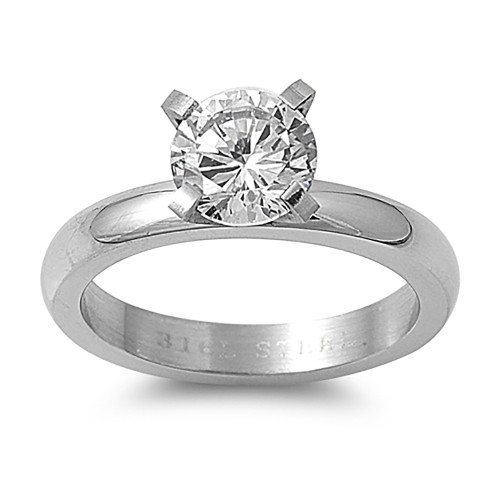 Lex and Lu Ladies Fashion Stainless Steel Ring w/ Clear Gem And 5mm Band