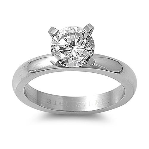 Lex & Lu Ladies Fashion Stainless Steel Ring w/Clear Gem And 5mm Band-Lex & Lu