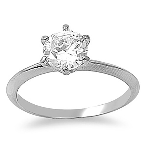 Lex & Lu Ladies Fashion Stainless Steel Ring w/Clear 7mm Gem And 2mm Band-Lex & Lu