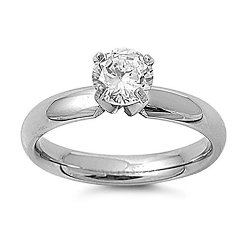 Lex & Lu Ladies Fashion Stainless Steel Ring w/Clear Gem And 4mm Band-Lex & Lu