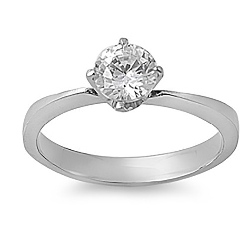 Lex & Lu Ladies Fashion Stainless Steel Ring w/Clear 6mm Gem And 3mm Band-Lex & Lu