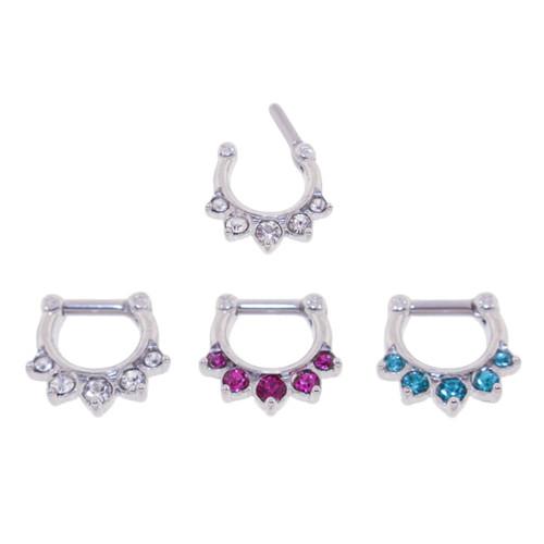 Lex & Lu Set of 3 - Steel CZ Gem Septum Clicker Nose Ring Hoops 16 or 14 Gauge SCG001-Lex & Lu