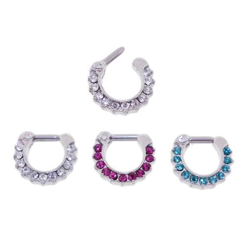 Lex & Lu Set of 3 - Steel CZ Gem Septum Clicker Nose Ring Hoops 16 or 14 Gauge SCG007-Lex & Lu