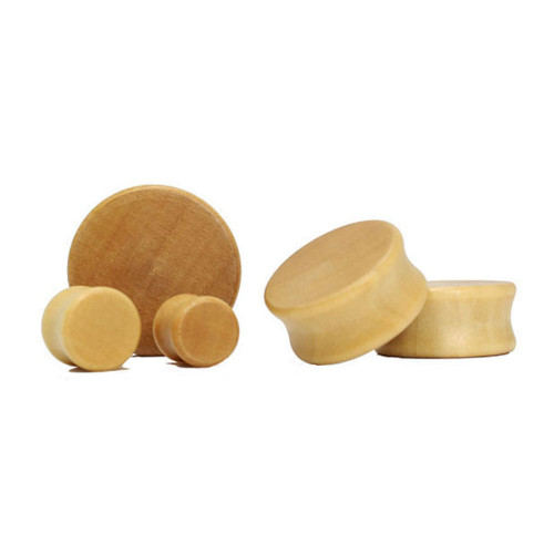 Lex and Lu Pair of Double Flare Solid Lotus Wood Organic Ear Plugs Natural