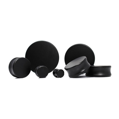 Lex and Lu Pair of Double Flare Solid Lotus Wood Organic Ear Plugs Black