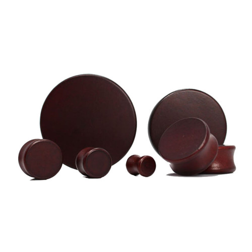 Lex & Lu Pair of Double Flare Solid Lotus Wood Organic Ear Plugs Brown-Lex & Lu