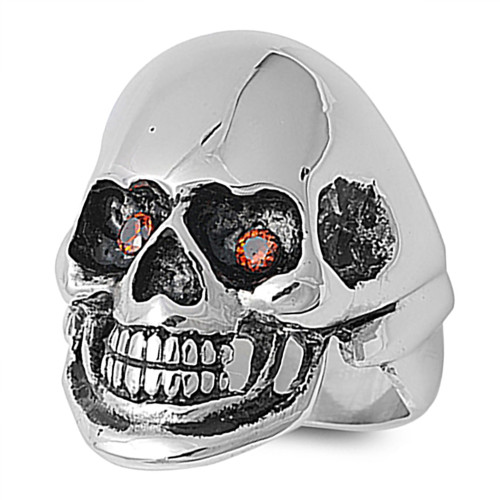 Lex and Lu Men's Fashion Stainless Steel Skull Biker Ring w/2 Red Gem Eyes