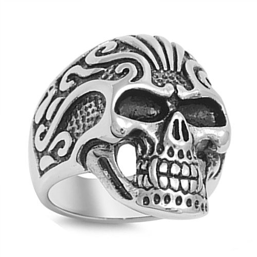 Lex & Lu Men's Fashion Stainless Steel Skull Biker Ring w/2 Black Eyes-Lex & Lu