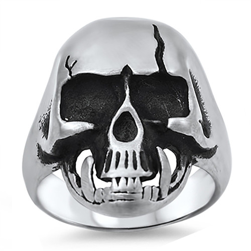 Lex & Lu Men's Fashion Stainless Steel Skull Biker Ring w/Cracked Skull-Lex & Lu