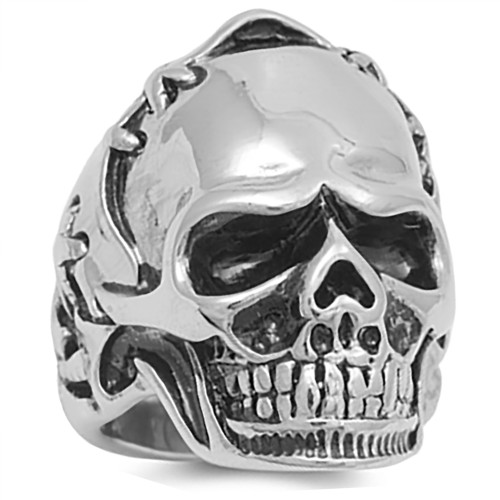 Lex and Lu Men's Fashion Stainless Steel Skull Biker Ring w/Stitched Helmet