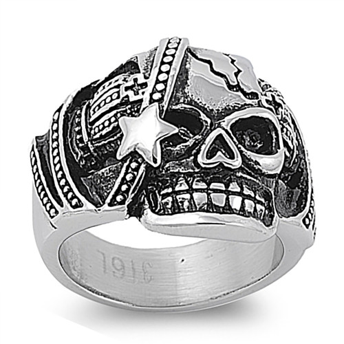 Lex & Lu Men's Fashion Stainless Steel Skull Biker Ring w/Star on Face-Lex & Lu