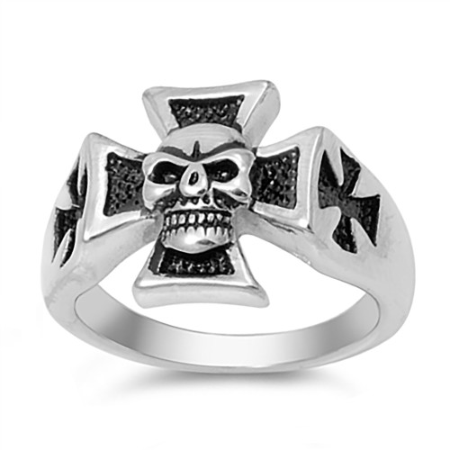 Lex and Lu Men's Fashion Stainless Steel Skull Biker Ring Iron Cross w/Skull