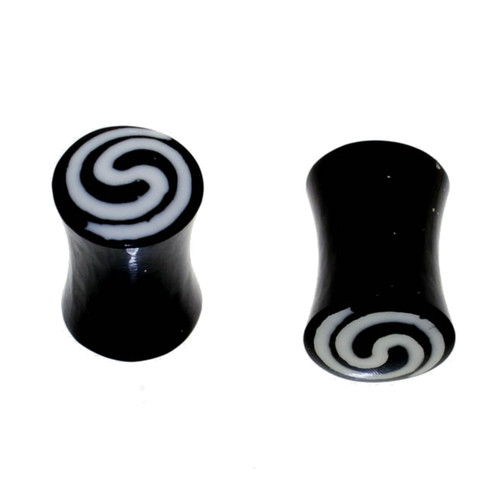 Lex and Lu Pair of Acrylic Double Flare Ear Plugs w/Inlay swirl, 00 Gauge