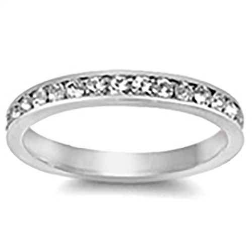 Lex & Lu 3mm .925 Sterling Silver CZ Eternity Comfort Fit Band Ring Size 5-9-Lex & Lu