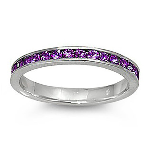 Lex & Lu 3mm Sterling Silver Purple CZ Eternity Comfort Fit Band Ring Size 5-9-Lex & Lu