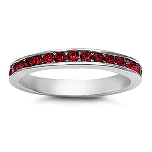 Lex & Lu 3mm Sterling Silver Dark Red CZ Eternity Comfort Fit Band Ring Size 5-9-Lex & Lu