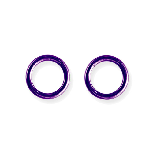 "Lex & Lu Pair of Titanium Seamless Captive 10 Gauge 7/16"" Dia Purple-Lex & Lu"