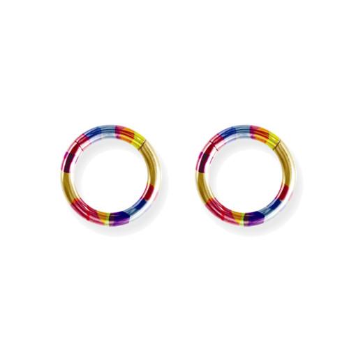 "Lex and Lu Pair of Titanium Seamless Captive 10 Gauge 7/16"" Dia Rainbow"