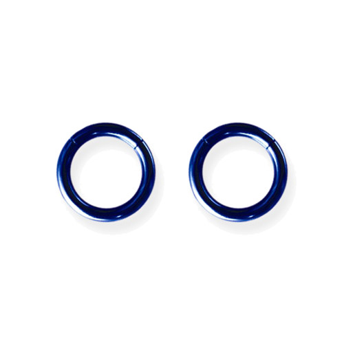 "Lex and Lu Pair of Titanium Seamless Captive 12 Gauge 3/8"" Dia Blue"