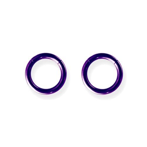 "Lex & Lu Pair of Titanium Seamless Captive 12 Gauge 3/8"" Dia Purple-Lex & Lu"